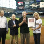 Robert Moses, Jr, Dr. Robert Grossman and Ron Girotto present The Knuckle Ball plaque