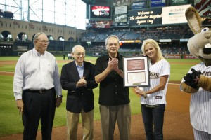 Robert Moses, Jr, Dr. Robert Grossman and Ron Girotto present The Knuckle Ball plaque