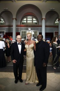 Natalie Niekro with Honorary Chairman, Dr. Robert Grossman and the Master of Ceremonies, Hall of Famer Joe Morgan, during The Knuckle Ball reception