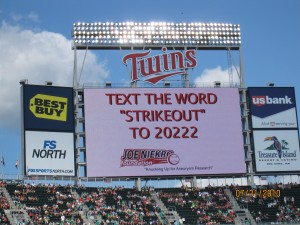 The Twins Jumbotron helped encourage fans to text the word STRIKEOUT to 20222 and make a $10 donation to The Joe Niekro Foundation