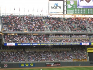 The Scrolling Banner in Right and Left Field continuously promoted The Joe Niekro Foundation