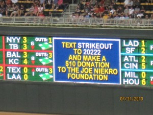 The Digital Board in Right Field helped promote the foundation message