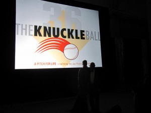The huge screen featuring The Knuckle Ball logo showcased the foundation and its events throughout the evening.