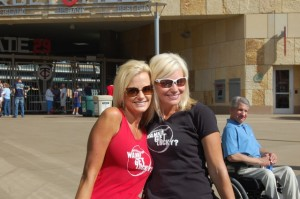 Kari and Natalie sporting their Wanna Get Lucky? shirts
