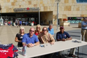 Foundation Board Member, Kari Ulrich and Medical Advisory Board Member, Dr. Robert Brown, join Natalie Niekro with Tim Laudner (left), Dan Gladden (center) and Tony Oliva (right) for the pre-game autograph session