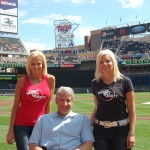 Natalie Niekro, Dr. Brown and Kari Ulrich at Target Field for the pre-game ceremony for Brain Aneurysm Awareness Day
