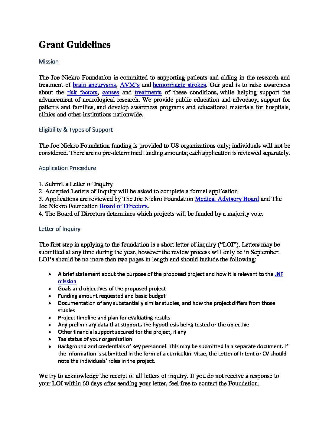 Letter Of Intent Guidelines from www.joeniekrofoundation.com